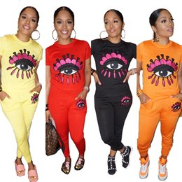 color eyelashes NZ - Womens Long Pants Tracksuit Big Eye Print 2 Piece Outfits Designer Casual colorful eyelash Solid Color Short Sleeve Sportswear S-XL C41704