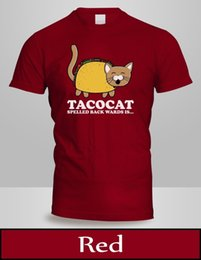 $enCountryForm.capitalKeyWord Australia - TACO CAT Backwards Kitty Mexican Food Animal T-Shirt Mens Top Red Colour Tee 2free shipping Unisex Casual Tshirt