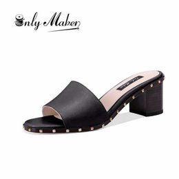 $enCountryForm.capitalKeyWord Canada - wholesale Women's Open Toe Chunky Block Heel Slippers Slide Sandals Rivets Mules Shoes Casual Heeled for Summer size US5-15