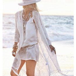 Wholesale kimono fringes resale online - Women Top Blouse Women Boho Fringe Lace Kimono Cardigan White Tassels Beach Cover Up Cape Tops Blouses Damen Bluze
