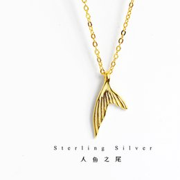 Silver Chains Design Australia - 18K Gold Light Luxury 925 Sterling Silver Mermaid Tail Necklace Small Crowd Design Tide Pendant Net Hongsen Clavicle Chain Jewelry