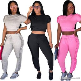 Wholesale Ski Suits Australia - 18SS Suit-dress New Pattern Sexy Spelling Imping Round The Ear Two Paper pants Set 3 Color women sports ladies tracksuits jogging suits