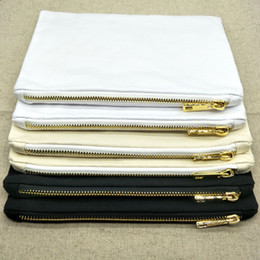 stockings cream NZ - blank black white cream 12oz thick cotton canvas makeup bag with gold metal zip gold lining plain cotton 6x9in cosmetic bag in stock