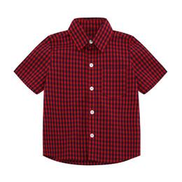 Kids Designer T Shirts NZ - Boys Designer Shirts 2019 Summer New Luxury T Shirt Casual Plaid Shirt Fashion Trend Short Sleeve Childrens Kid Clothing Thin Jackets