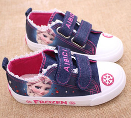 Girl Shoes Canvas Australia - 2019 Designer New Girls Cartoon ice Romance Princess Children's Shoes Lace Side Denim Casual Canvas Shoes