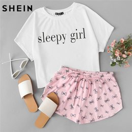d8abc8c96f Shein Summer Two Piece Set Sleepwear Multicolor Short Sleeve Graphic Letter  Print Top And Drawstring Shorts Pajama Sets Q190420