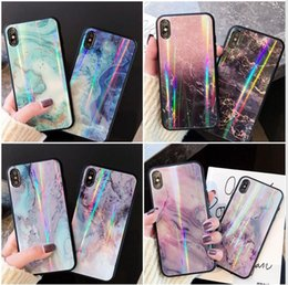 Wholesale Applicable to Europe and America Aurora marble pattern iphoneXsmax mobile phone shell x xr apple p plus glass shell