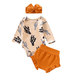 Wholesale cotton jumper suit resale online - INS Newborn Boys Girls Rompers Long Sleeve Cotton Cactus Printing Jumper Shorts Pieces Suits Baby Girls Lovely Clothing Sets Bodysuits