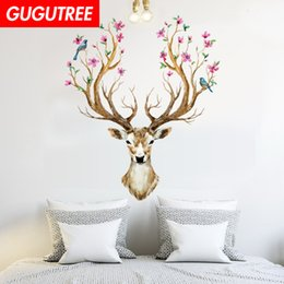 nature flowers wallpapers UK - Decorate Home flower deer cartoon art wall sticker decoration Decals mural painting Removable Decor Wallpaper G-1735