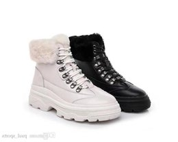 $enCountryForm.capitalKeyWord UK - New Arrival Winter Rabbit Hair Leather Fashion Women Ankle Boots All Black White Bottines For Snow Bottes High Quality Size 35-39