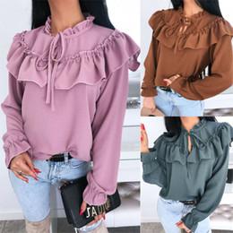 Wholesale shirts trim for sale – dress 2020 Autumn Women Elegant Blouse Spring Casual Shirt Female Stylish Top Solid Color High Neck Ruffle Trim Blouse Female Blusas
