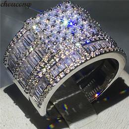 Diamond Band Set Australia - choucong Luxury Promise Ring set Princess cut Diamond 925 Sterling Silver Engagement Wedding Band Rings for Women Men Gift