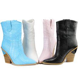 f38a54f686d Sarairis 2019 Plus Size 33-46 New Fashion Dropship Hoof High Heels Mid Calf  Boots Woman Shoes Slip On Elegant Shoes Woman Boots