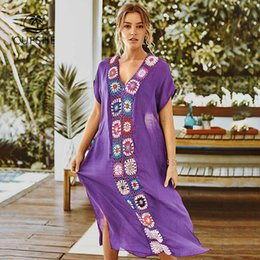 $enCountryForm.capitalKeyWord Australia - CUPSHE White   Purple Maxi Cover Up with Colorful Crochet Women Sexy V-neck Hollow Kaftan Beach Dress 2019 Summer Beachwear