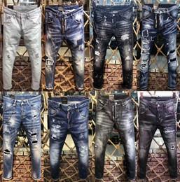 Jeans Pant Paint Australia - New High Quality Italy Fashion Brand jeans Popular Paint Splatter Stylish Patchwork Broken Holes Letter Pattern Denim Jeans Pants Trousers