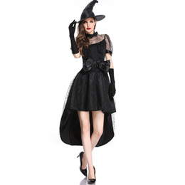 Long Suits For Girls UK - Halloween Cosplay Witch female dress Role-playing suits sorceress long dress shaman Costume Party for girls black red colors