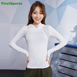 long sleeve yoga tops Canada - Womens Mesh Yoga Shirts Tops Gym Sports Hoodies Long Sleeve Slim Running Fitness Workout Sweatshirts Outdoor Sportswear