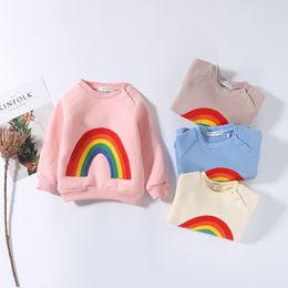 $enCountryForm.capitalKeyWord NZ - Infant Kids Boys T Shirt Autumn Winter Casual Rainbow Hoodies Children Warm Fleece Sweatshirt Long Sleeve Tee Baby Girl Clothes