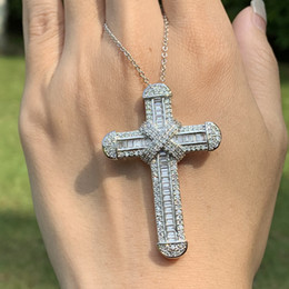 Wholesale Victoria Wieck Luxury Jewelry Real 925 Sterling Silver Pave White Topaz CZ Diamond Gemstones Cross Pendant Lucky Women Necklace For Party