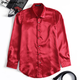 e17001bc22787d Shirt Satin NZ - INCERUN Mens Dress Shirt Silk Smooth Satin Long Sleeve Top  NightClub Party