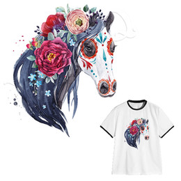 diy heat transfer printing NZ - Flower Horse Patches DIY Heat Transfer Appliques Easy Print By Household Irons Washable Clothes Stickers Custom Design Stickers Parches