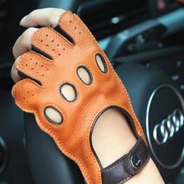 men s leather driving gloves 2019 - 2018 New Lady Buckskin Gloves Driving Non-Slip Semi-Finger Genuine Leather Woman Deerskin Gloves Breathable Unlined EL11