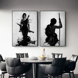 Japanese Canvas Prints Australia - Black & White Japanese Ink Painting Samurai Woman Wall Mural, Modern Abstract Canvas Painting Art Room Decoration Print Poster