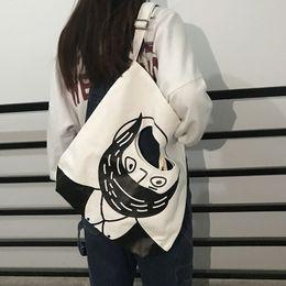 Figures Australia - Amazing2019 Canvas Time Leisure Bag Schoolgirl Personality Doodle Figure Handbag Single Shoulder Package