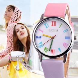 $enCountryForm.capitalKeyWord Australia - Luxury Women Watches Vintage Fashion Colorful Dial Design Roman Numerals Leather Strap Watch Ladies Quartz Wristwatches Reloj #A