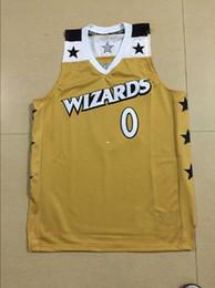 Дешевые обычай Ретро # 0 Гилберт Аренас Вашингтон трикотажные изделия Баскетбол Золото шить спортивной жилет Топ Мужская Дешевые Джерси NCAA на Распродаже