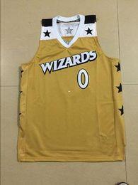 barato costume retro # 0 Gilbert Arenas Basketball jerseys costura sportswear ouro colete de Mens Top barato Jersey NCAA em Promoiio