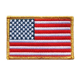 Wholesale 7x5CM Embroidered USA Flags Sew Iron On Patches National Stars Stripes Gold Edge Badges For Dress Bag Jeans Hat T Shirt DIY Appliques