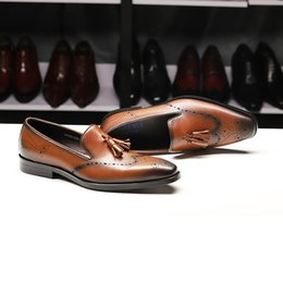 $enCountryForm.capitalKeyWord Australia - Men's casual new men's dress business tassel leather shoes first layer leather shoes high-end handmade free