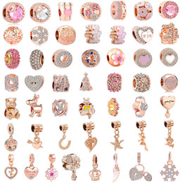 white pink mix rose flower Australia - free shipping 50pcs lot(each for one) pink rose gold european mixed charm bead fit pandora charms bracelet for women diy jewelry M002
