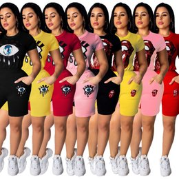 Sequin Knit Top NZ - Women Tracksuit Knit Two Piece Outfits Sequin Sports Suit Cartoon Mouse Eye Pattern Short Sleeve Top Shorts Set Pink Black Red Yellow