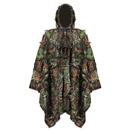 Discount camouflage tactical shirt - Tactical 3D Camouflage Suits Sniper Hunting Shirt Ghillie Suit Leaves Poncho Cloak Stealth Uniform Clothes Accessories