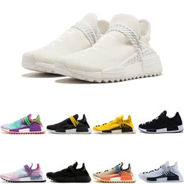 e0ad98dea 2019 MENS running Shoes Human Race Pharrell Williams HU X Holi cream yellow  white Women Men Sports Shoes Athletic man Shoes discount trainer