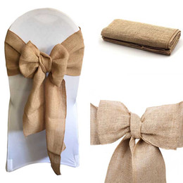 "$enCountryForm.capitalKeyWord Australia - 100pcs Burlap Chair Bow sashes Burlap Ribbon for Banquet Wedding Party Baby Shower Craft Chair Cover Decor FR STORE 7""x 108"""