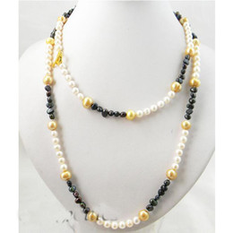$enCountryForm.capitalKeyWord NZ - 39 inches Long Pearl Jewellery,Champagne White Black Baroque Round Freshwater Pearl Necklace,3-9mm Mixes Size Pearl Necklace