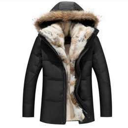 China Raccoon Fur Warm White Duck Feather Coat Long Winter Jacket Women Down Parka Plus Size 2019 Rabbit Hair Hooded Outerwear cheap yellow hair feathers suppliers