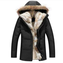 White Rabbit Hair Australia - Raccoon Fur Warm White Duck Feather Coat Long Winter Jacket Women Down Parka Plus Size 2019 Rabbit Hair Hooded Outerwear