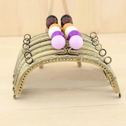 Shaped Handle Australia - 16.5cm Colorful Beads Arc-shaped Bronze Meal Purse Frame Embossing Two Ears Sewing Obag Hanger Handle Wallet Purse Frame Diy