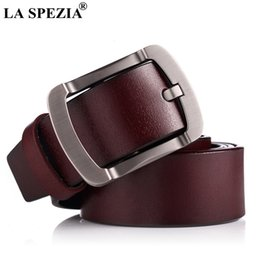 men belts wholesale Canada - LA SPEZIA Men Leather Belt Genuine Cowskin Burgundy Pin Buckle Belt Vintage Fashion Brand Real Leather Male Jeans
