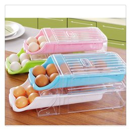 green box containers Australia - Kitchen Home Refrigerator Storage Plastic Drawer Type Egg Holder Box Container Dispenser Case Type With Slope Design