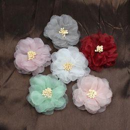 Silk chiffon wedding online shopping - 50pcs Chiffon Artificial Flower Head Handmade DIY Fabric Flowers for Wedding Party Craft Home DIY Decoration