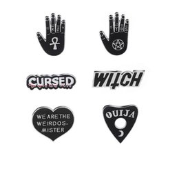 Wholesale star witch online – ideas 2019 New Cartoon Dark Enamel Pins Star Moon OUIJA Heart Witchcraft Witch Hand Brooches Pins Punk Lapel Pin Buckle Badges Jewelry Gift