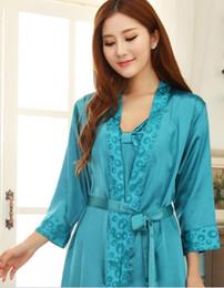 Barato Nueva Marca de Seda de Las Mujeres Pijamas Conjuntos Sexy ropa de  Dormir Conjunto de Seda de Noche camisones de dama Bata Conjuntos Ropa de  Dormir de ... 3a380c382