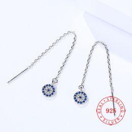 $enCountryForm.capitalKeyWord NZ - 2018 Fashion Bling Jewelry 925 Sterling Silver Cubic Zircon Evil Eye Chain Dangle Threader Earrings for Girls