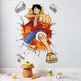 wall stickers multicolor NZ - 3D ONE PIECE Wall Decals Multicolor Monkey D Luffy Wall Vinyl Sticker for Kids Room and Nursery Decoration