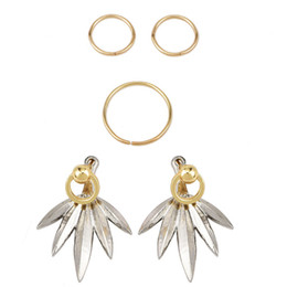 $enCountryForm.capitalKeyWord Australia - 5 pieces set earrings New fashion jewelry gold Silver color Geometric Leaves stud Earrings for women girl nice gifts